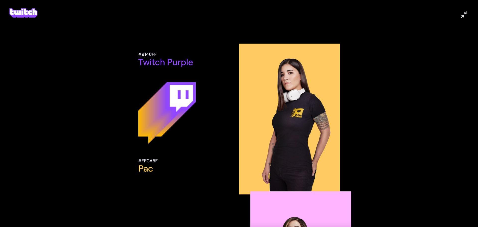 Ребрендинг Twitch с новой цветовой гаммой на веб странице