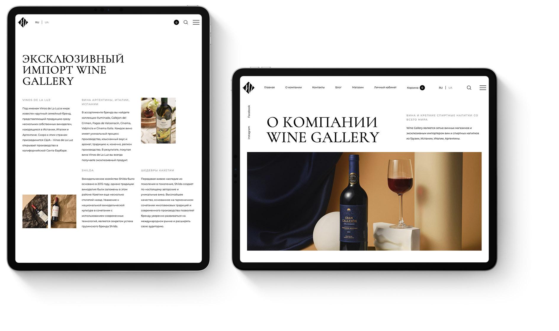 Концепция интернет-магазина Wine Gallery